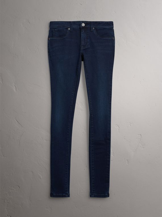 Skinny Fit Power-stretch Denim Jeans in Dark Indigo - Women | Burberry - cell image 3