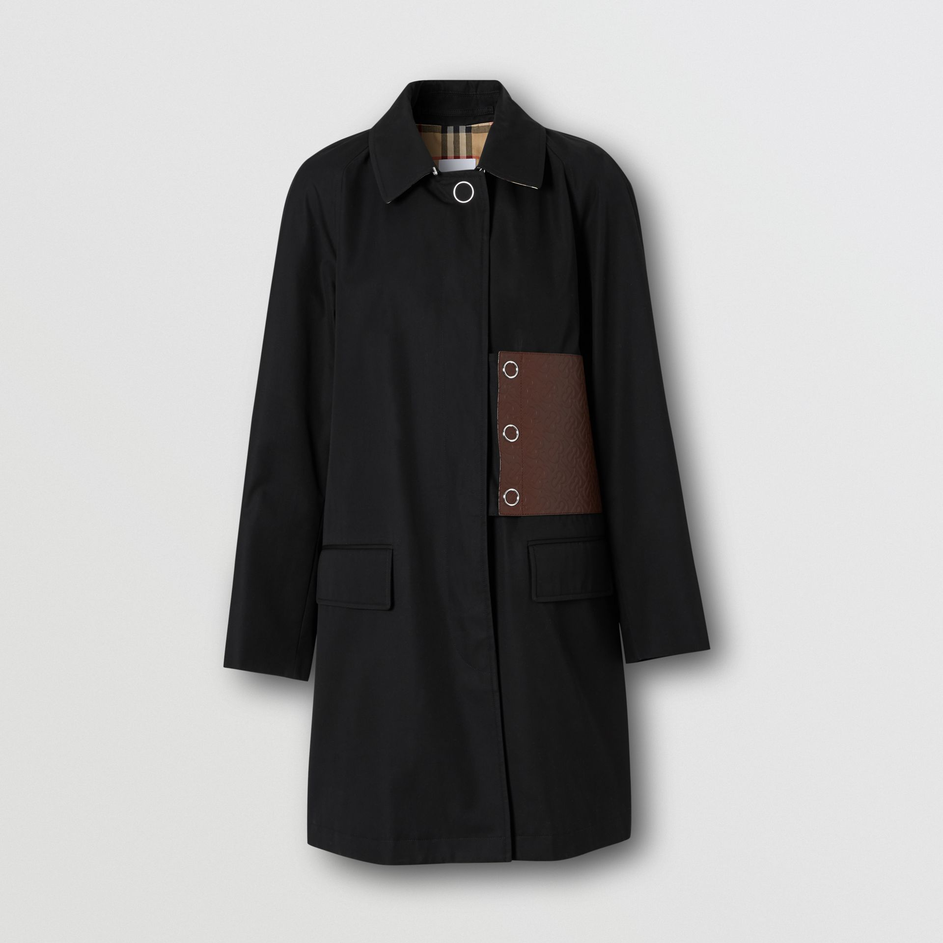 Monogram Leather Detail Cotton Gabardine Car Coat in Black - Women | Burberry United Kingdom - gallery image 3