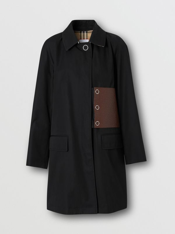 Monogram Leather Detail Cotton Gabardine Car Coat in Black - Women | Burberry - cell image 3
