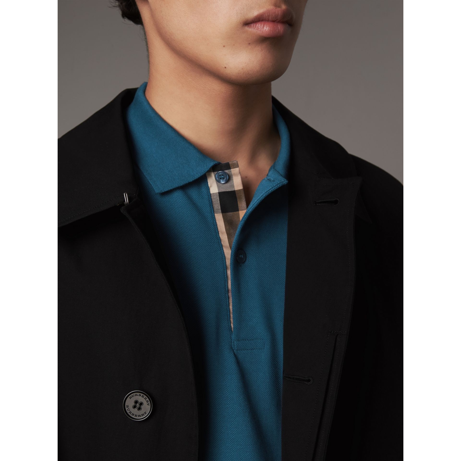Check Placket Cotton Piqué Polo Shirt in Mineral Blue - Men | Burberry Singapore - gallery image 1