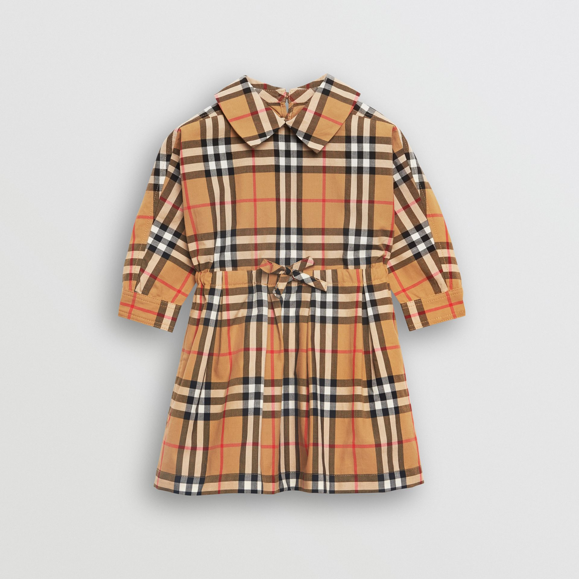 Robe à cordon de serrage en coton à motif Vintage check (Jaune Antique) - Enfant | Burberry Canada - photo de la galerie 0