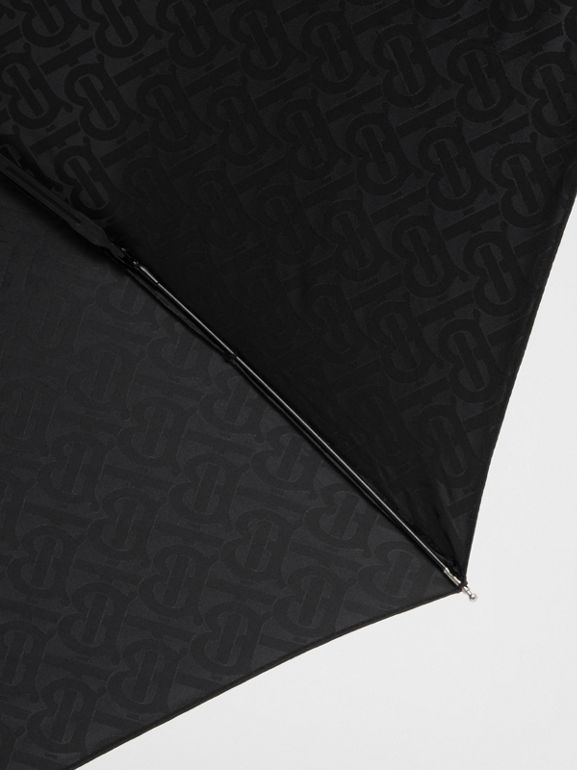 Monogram Print Folding Umbrella in Black | Burberry - cell image 1