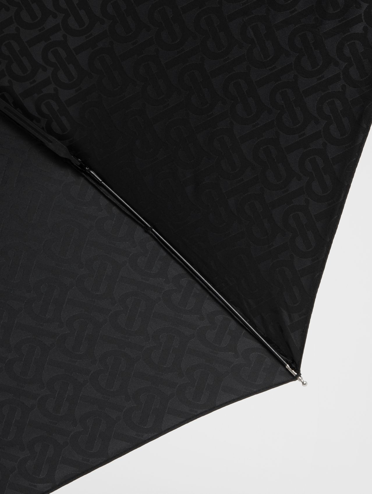 Monogram Print Folding Umbrella in Black