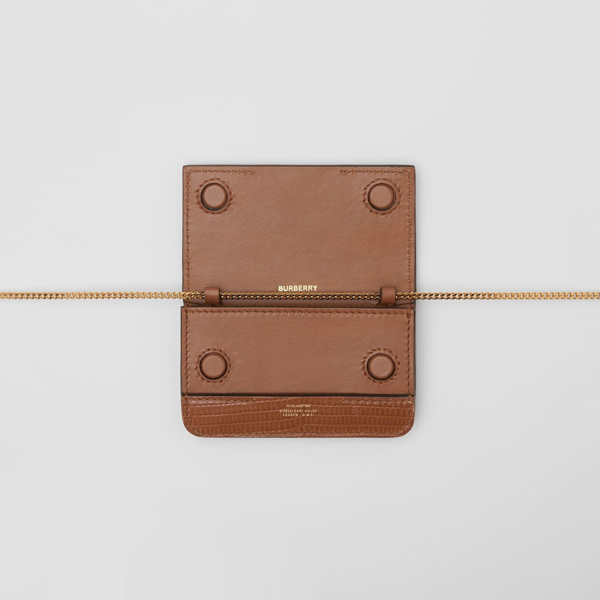 Embossed Deerskin Card Case with Chain Strap in Tan - Women | Burberry Canada - gallery image 9