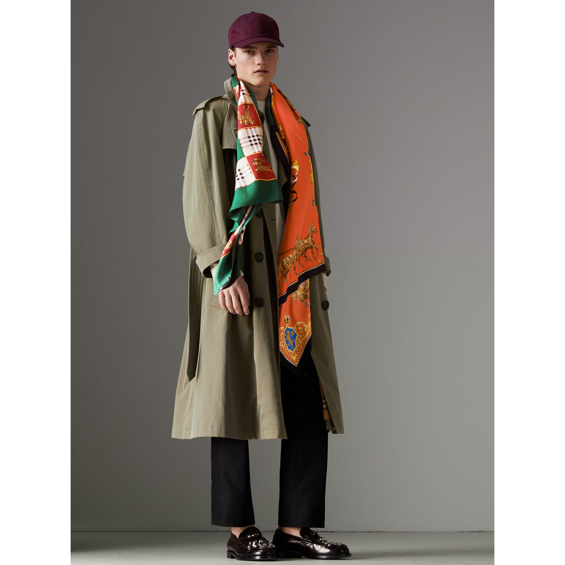 Archive Scarf Print Silk Oversized Scarf in Multicolour - Women | Burberry - gallery image 3