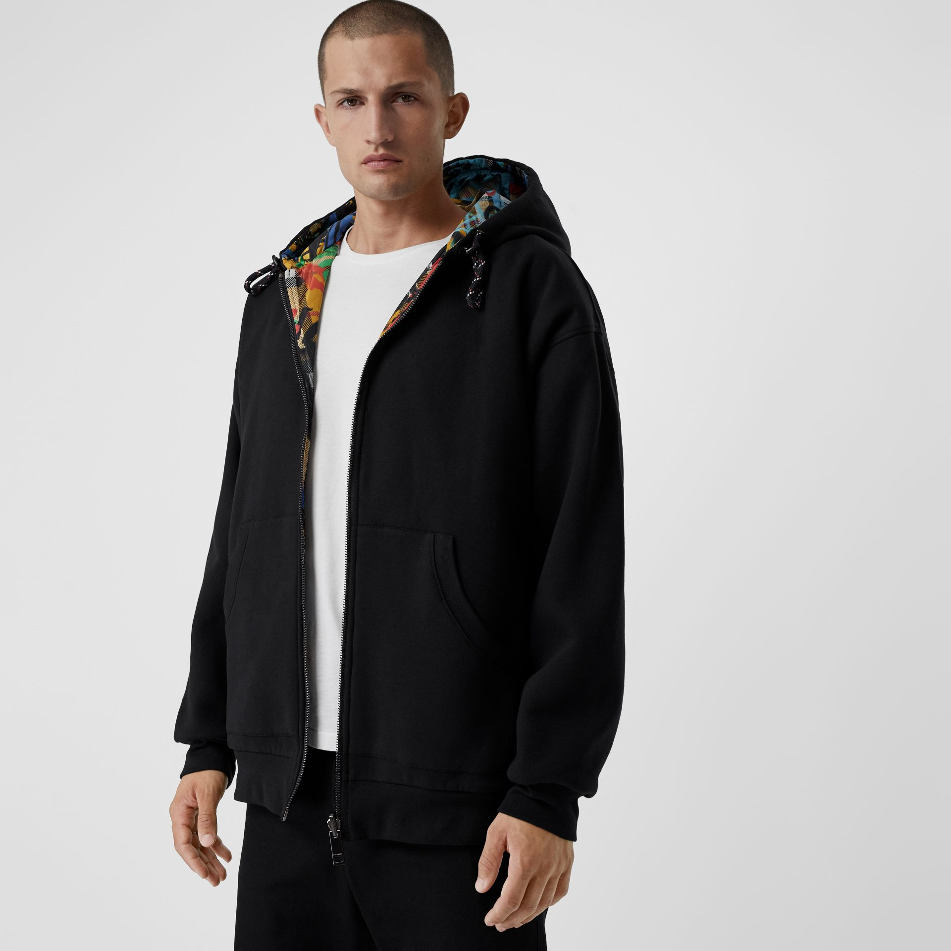 Reversible Graffiti Scribble Check Print Hooded Top in Black - Men | Burberry Australia - gallery image 3