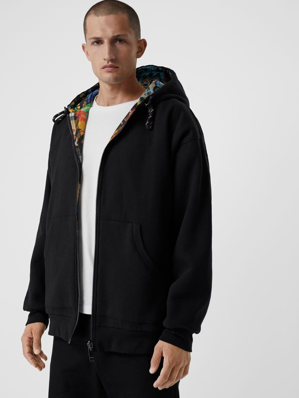 Reversible Graffiti Scribble Check Print Hooded Top in Black - Men | Burberry - cell image 3