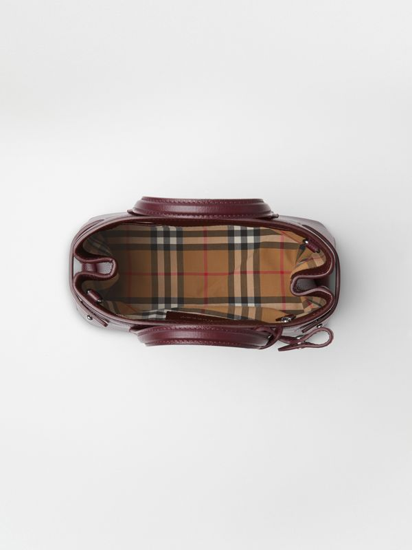 The Small Banner in Leather and Vintage Check in Mahogany Red - Women | Burberry - cell image 3