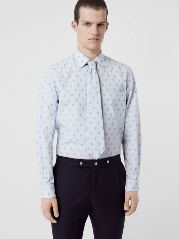 Fil Coupé Monogram Cotton Shirt and Tie Twinset in Pale Blue