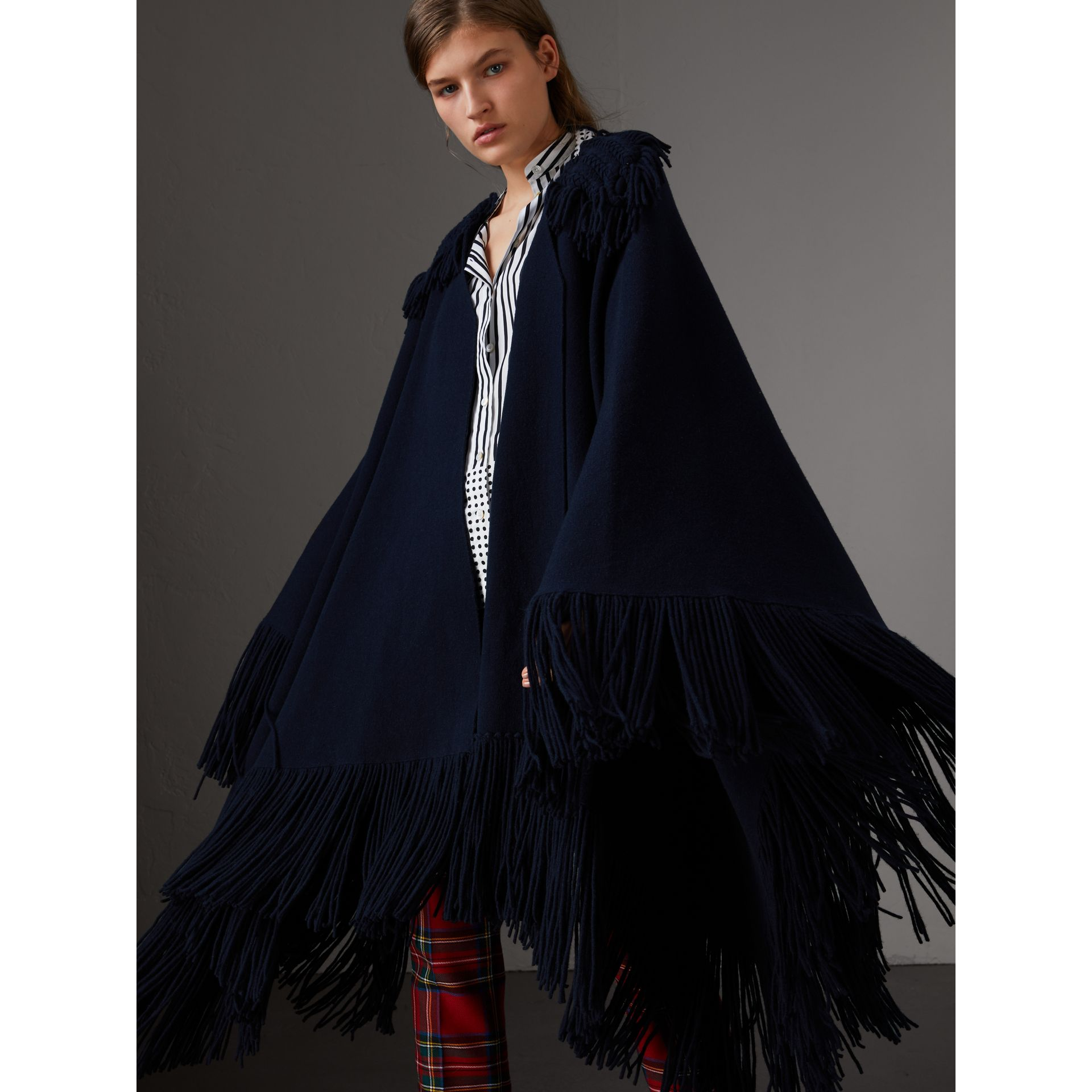 Fringed Wool Cashmere Blend Poncho in Navy - Women | Burberry Australia - gallery image 1