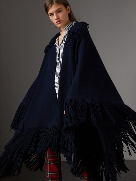 Fringed Wool Cashmere Blend Poncho in Navy
