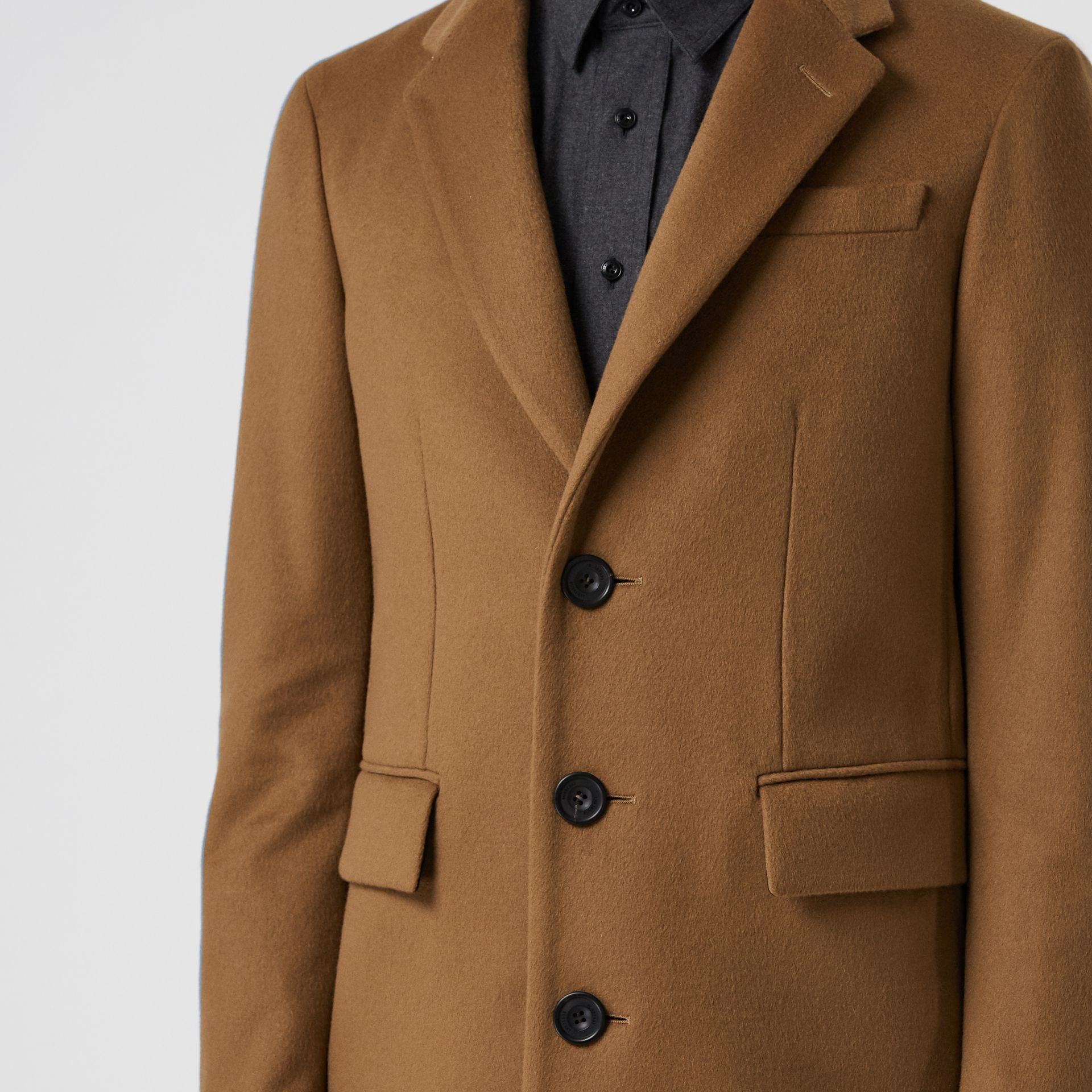 Wool Cashmere Tailored Coat in Dark Camel - Men | Burberry Australia - gallery image 4
