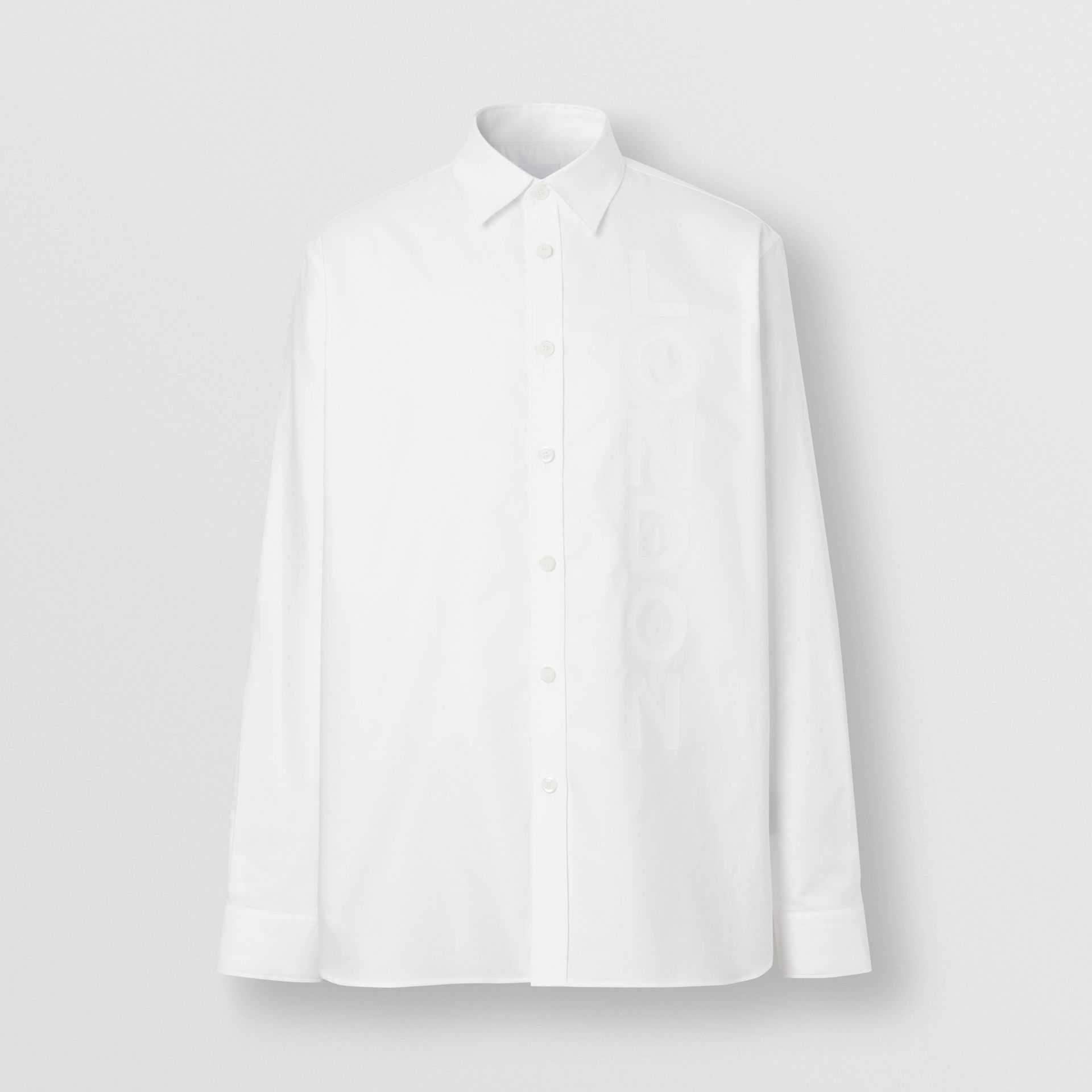 London Print Cotton Oxford Oversized Shirt in White - Men | Burberry Australia - gallery image 3