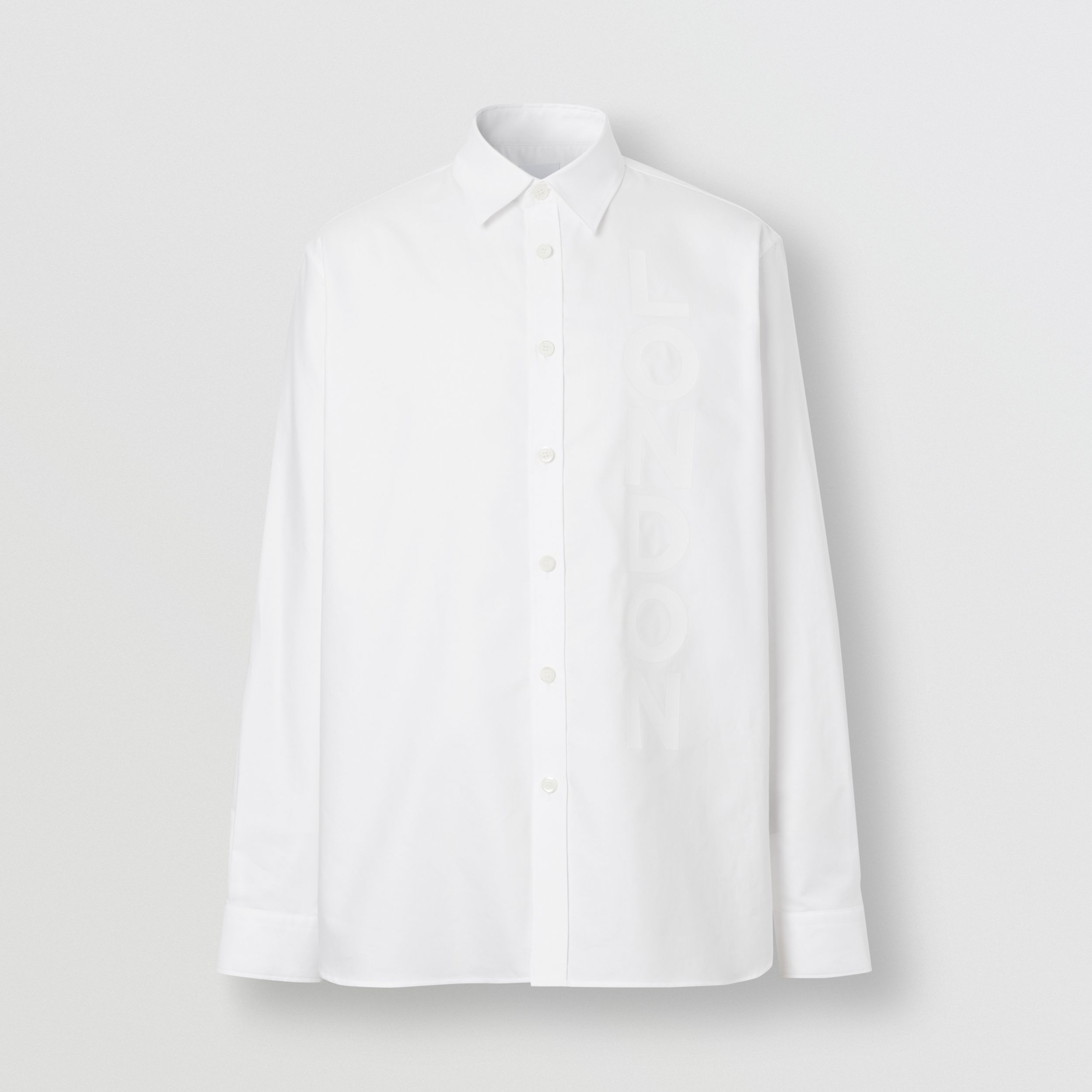 London Print Cotton Oxford Oversized Shirt in White - Men | Burberry - 4