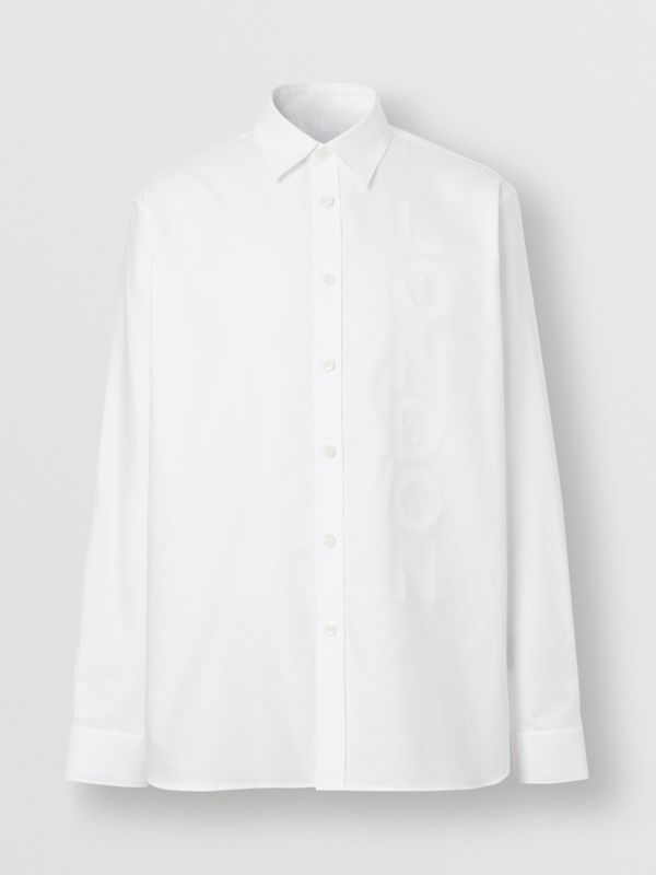 London Print Cotton Oxford Oversized Shirt in White - Men | Burberry Australia - cell image 3