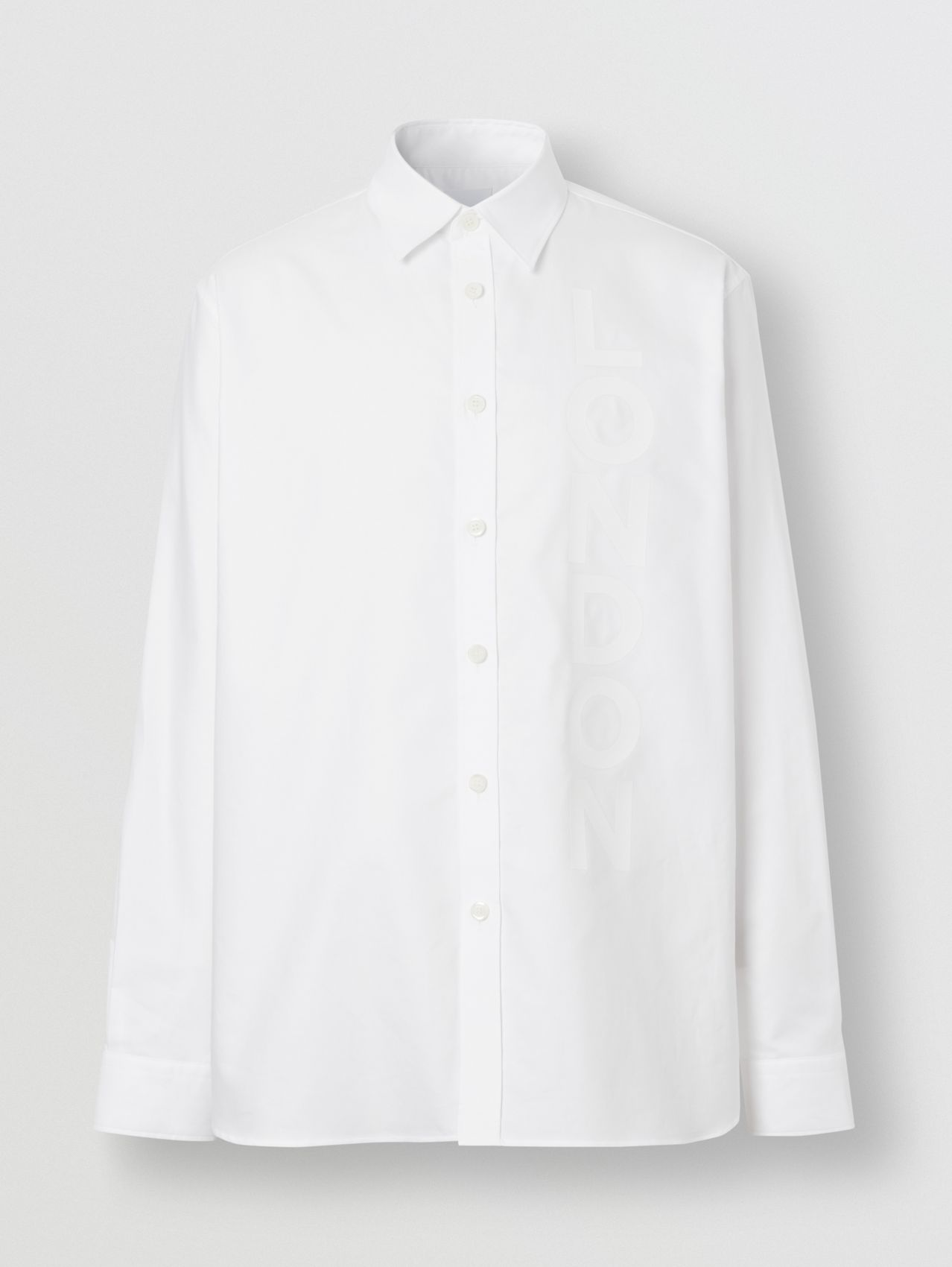 London Print Cotton Oxford Oversized Shirt in White