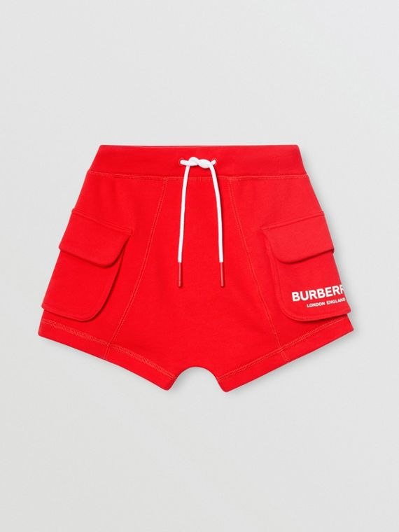 Shorts aus Baumwolle mit Zugbandverschluss und Burberry-Logo (Leuchtendes Rot)