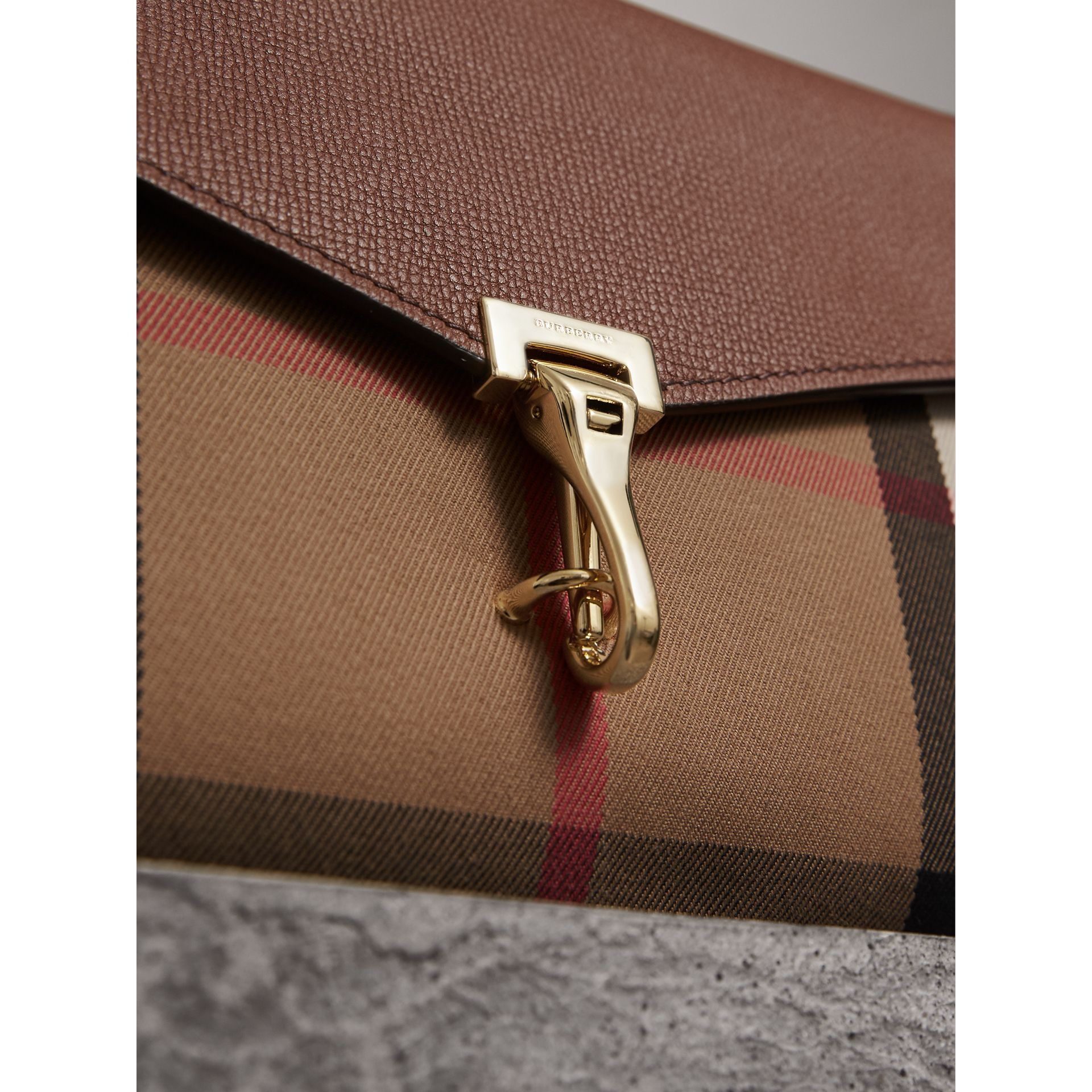 Small Leather and House Check Crossbody Bag in Tan - Women | Burberry - gallery image 2