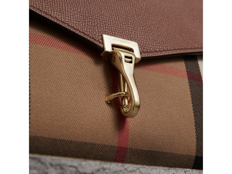 Small Leather and House Check Crossbody Bag in Tan - Women | Burberry Canada - cell image 1