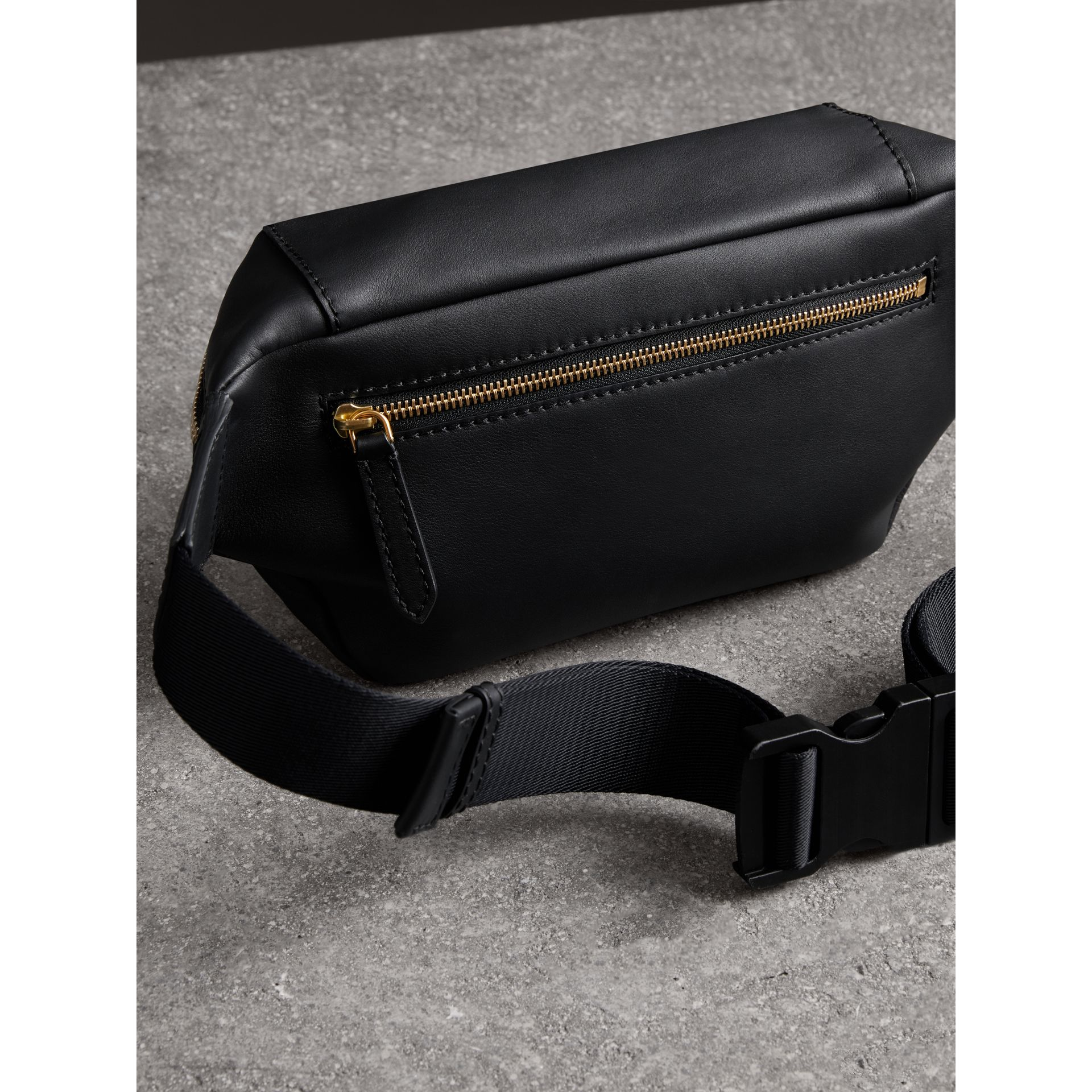Medium Graffiti Print Leather Bum Bag in Black - Men | Burberry - gallery image 2