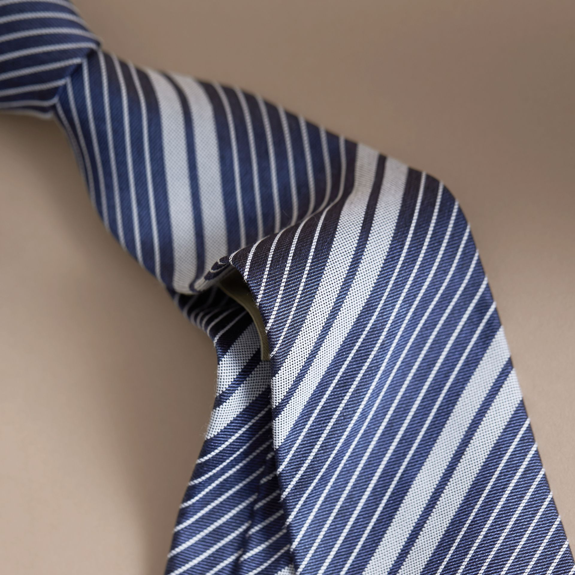 Modern Cut Striped Silk Cotton Jacquard Tie - gallery image 2