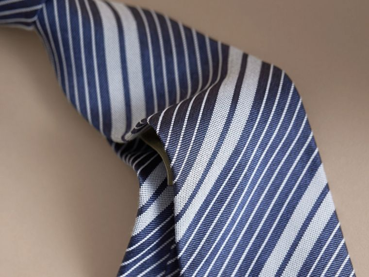 Modern Cut Striped Silk Cotton Jacquard Tie - cell image 1