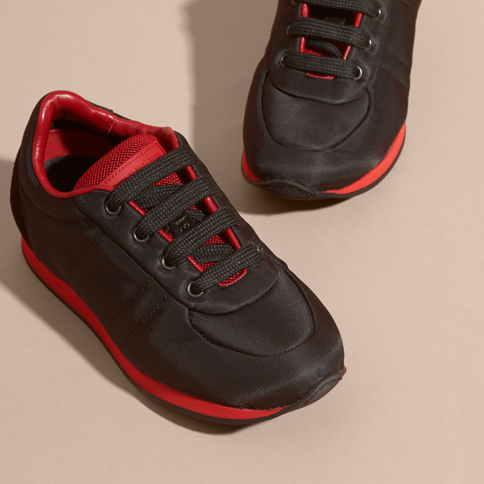 Black/military red Colour Block Satin and Leather Sneakers Black/military Red - gallery image 3