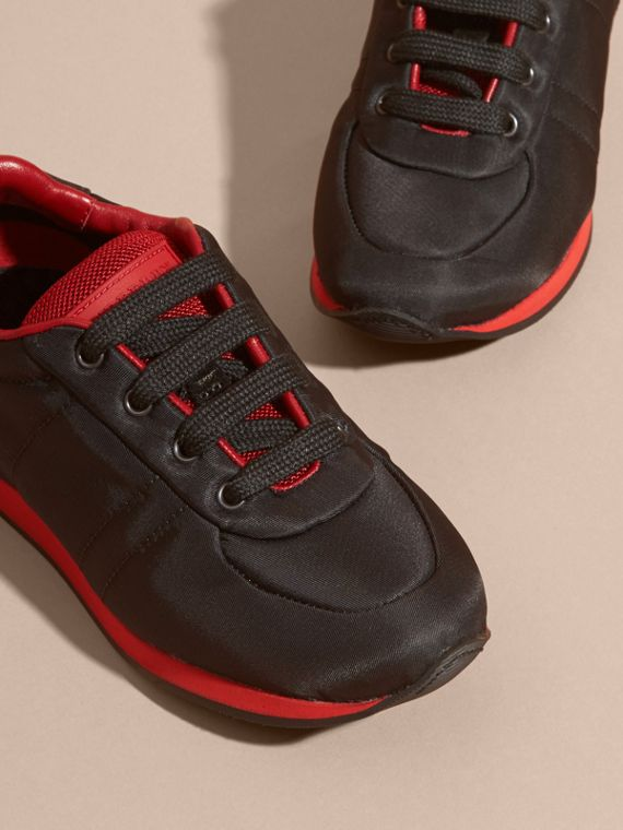 Black/military red Colour Block Satin and Leather Sneakers Black/military Red - cell image 2