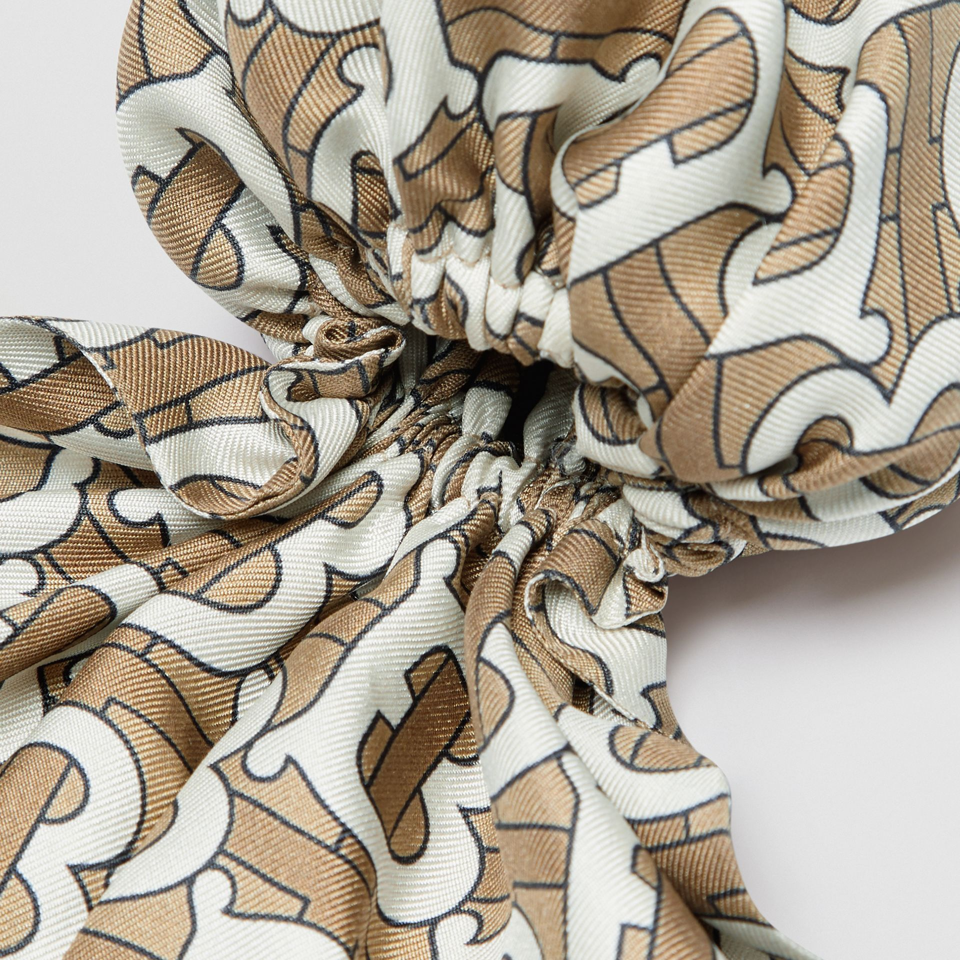 Monogram Print Silk Hair Scarf in Pale Olive - Women | Burberry - gallery image 1