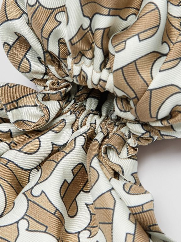 Monogram Print Silk Hair Scarf in Pale Olive - Women | Burberry - cell image 1