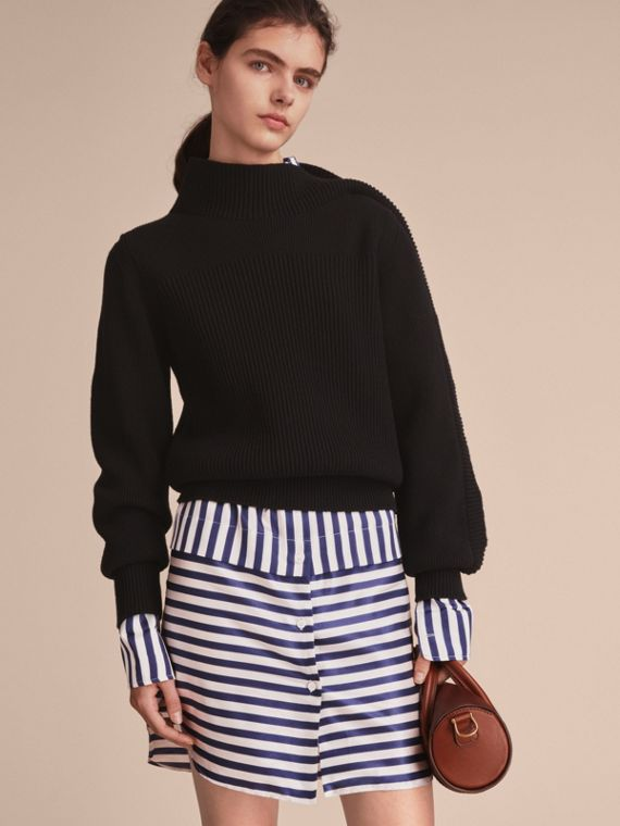 Asymmetric Rib Knit Wool Cashmere Sweater