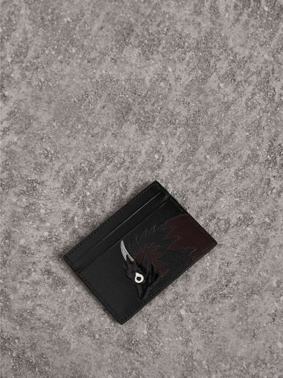 Beasts Motif Leather Card Case in Black