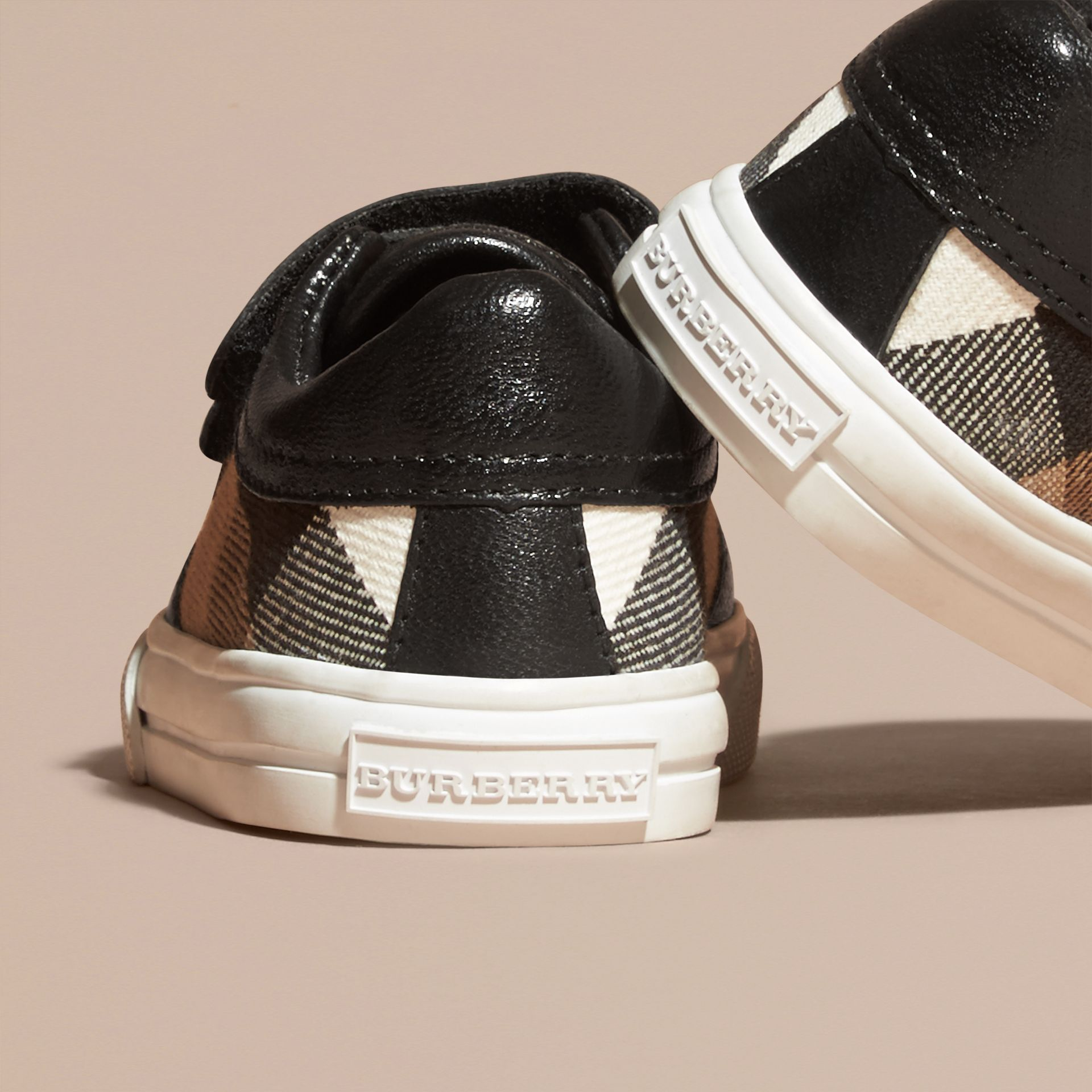 House Check and Leather Trainers in Black | Burberry - gallery image 4