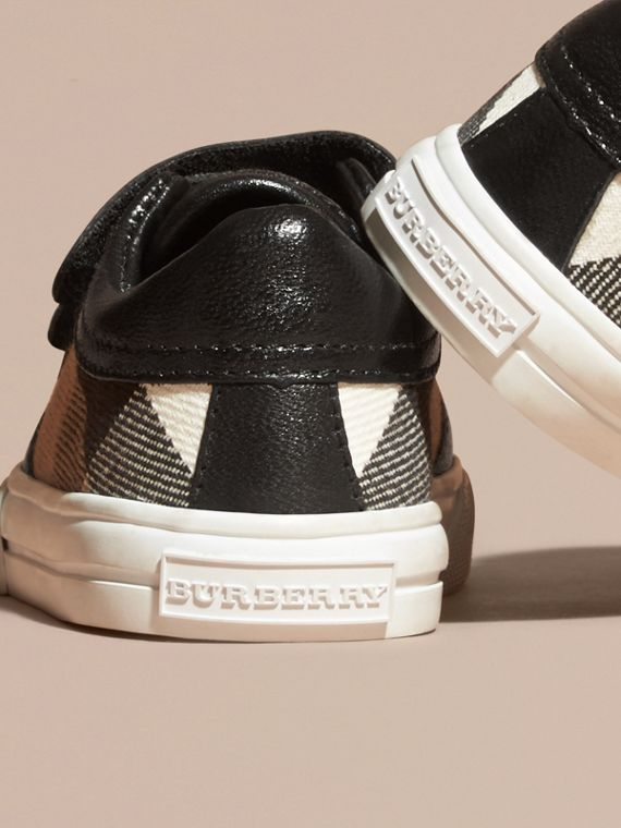 House Check and Leather Trainers in Black | Burberry - cell image 3