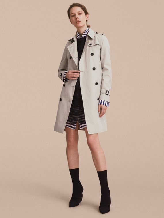 Trench coat Kensington – Trench coat Heritage largo (Piedra) - Mujer | Burberry