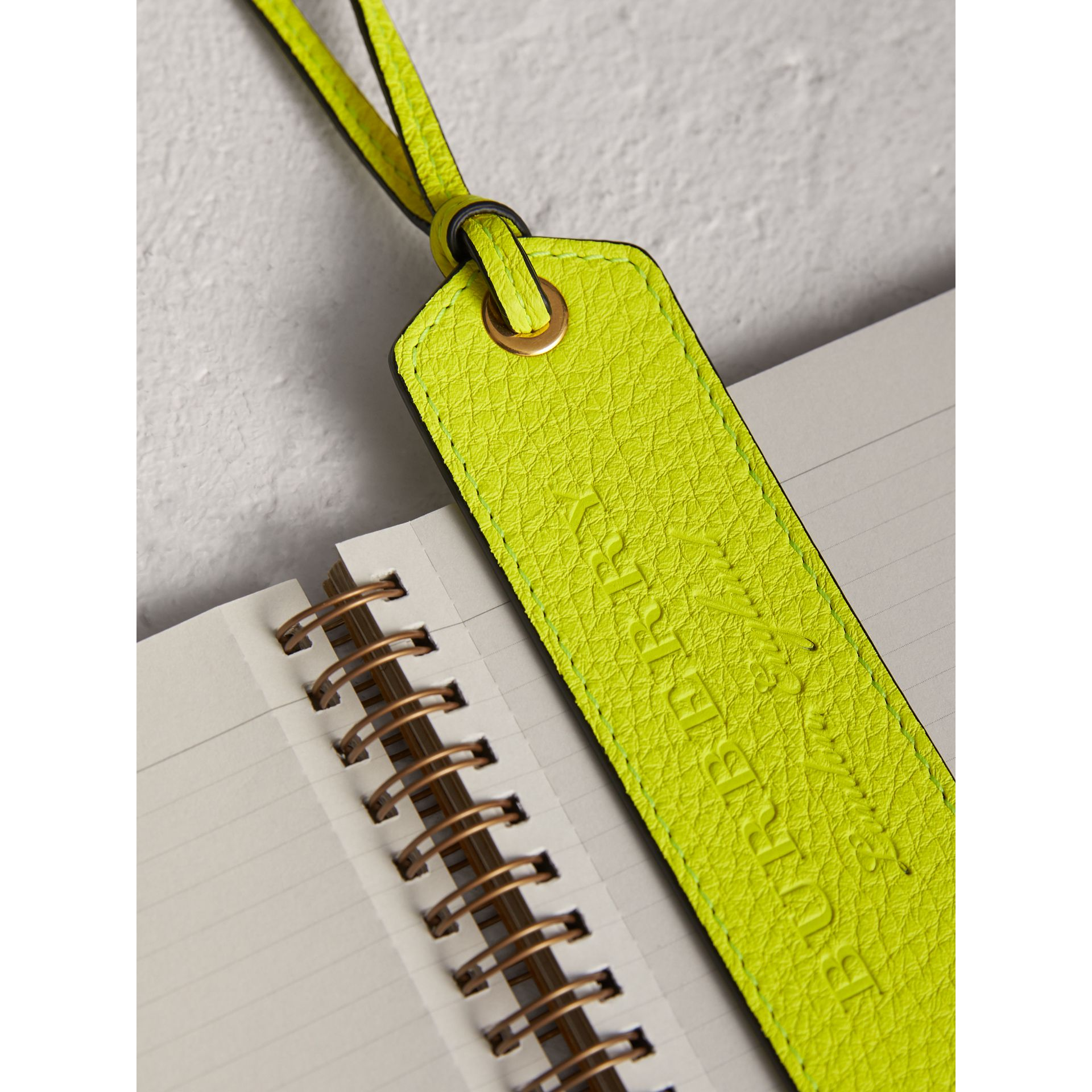 Embossed Leather Bookmark in Bright Yellow | Burberry - gallery image 1