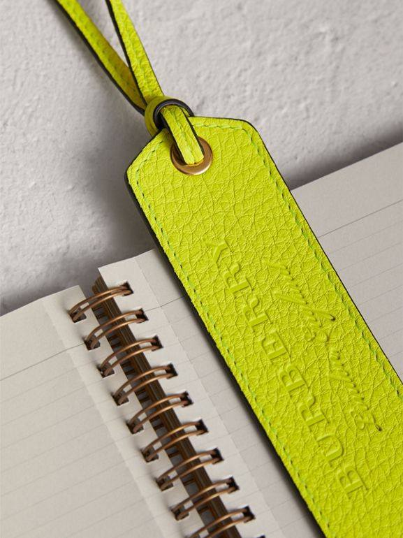 Embossed Leather Bookmark in Bright Yellow | Burberry - cell image 1