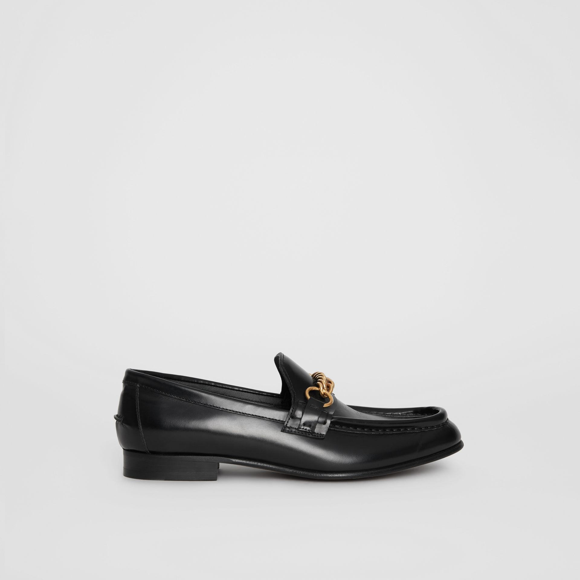 The Leather Link Loafer in Black - Women | Burberry - gallery image 4