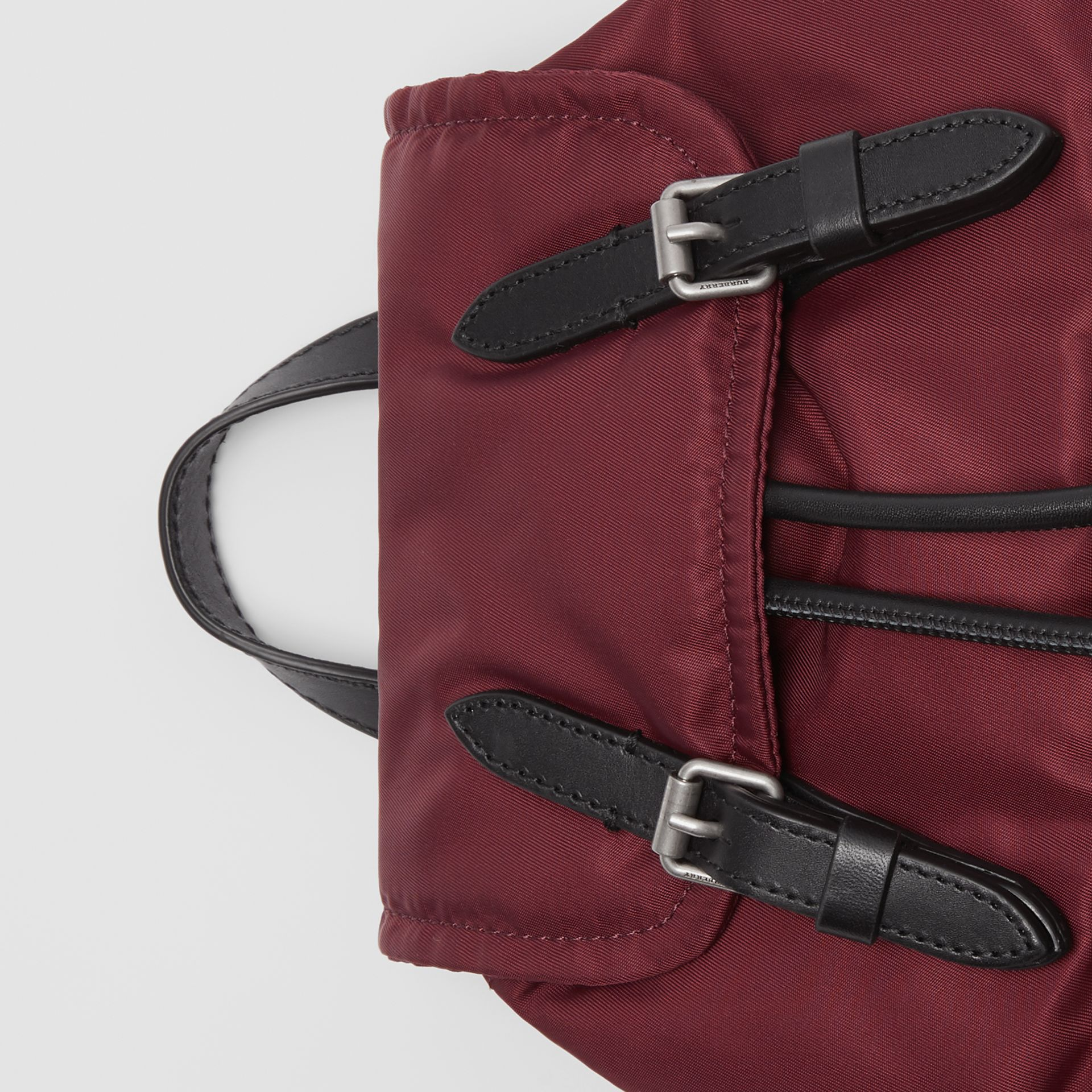 The Small Crossbody Rucksack in Puffer Nylon in Burgundy Red - Women | Burberry United Kingdom - gallery image 1