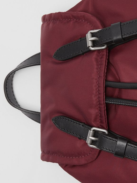 The Small Crossbody Rucksack in Puffer Nylon in Burgundy Red - Women | Burberry Singapore - cell image 1
