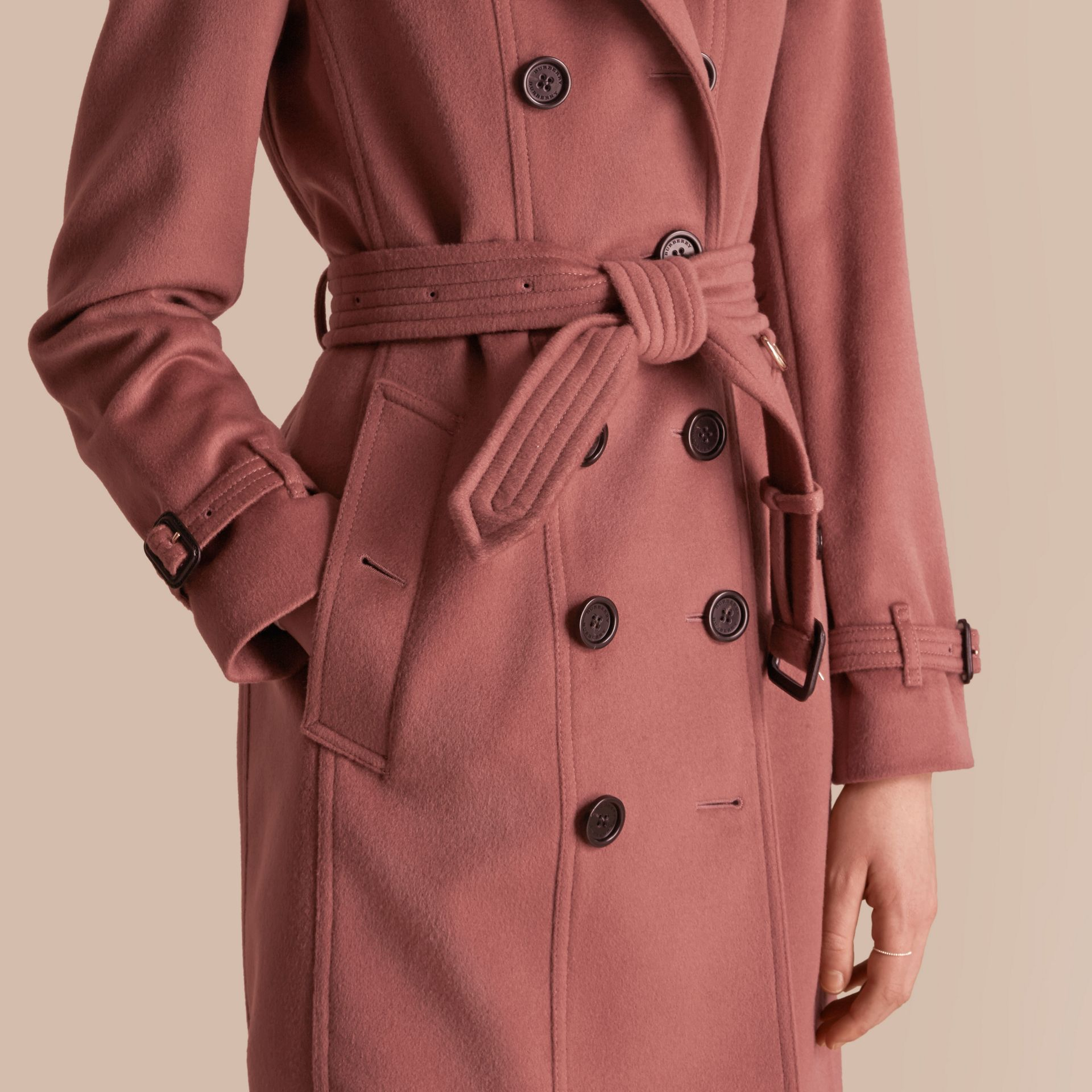 Antique rose Wool Cashmere Trench Coat with Detachable Fur Collar - gallery image 6