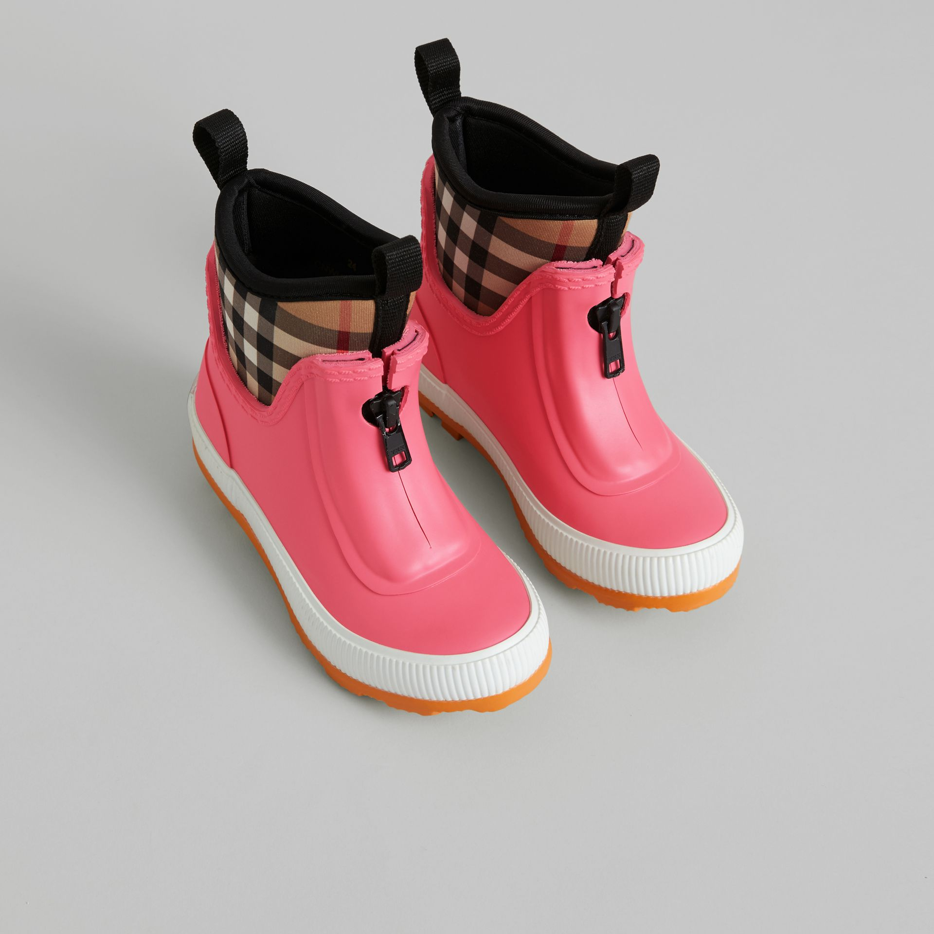 Vintage Check Neoprene and Rubber Rain Boots in Pink Azalea | Burberry - gallery image 0
