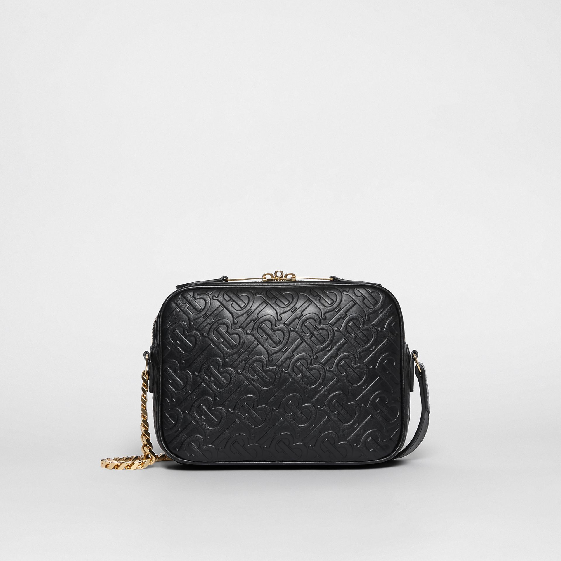 Monogram Leather Camera Bag in Black - Women | Burberry - gallery image 7