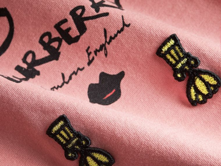 Lady Print Cotton T-shirt in Apricot Pink - Children | Burberry - cell image 1