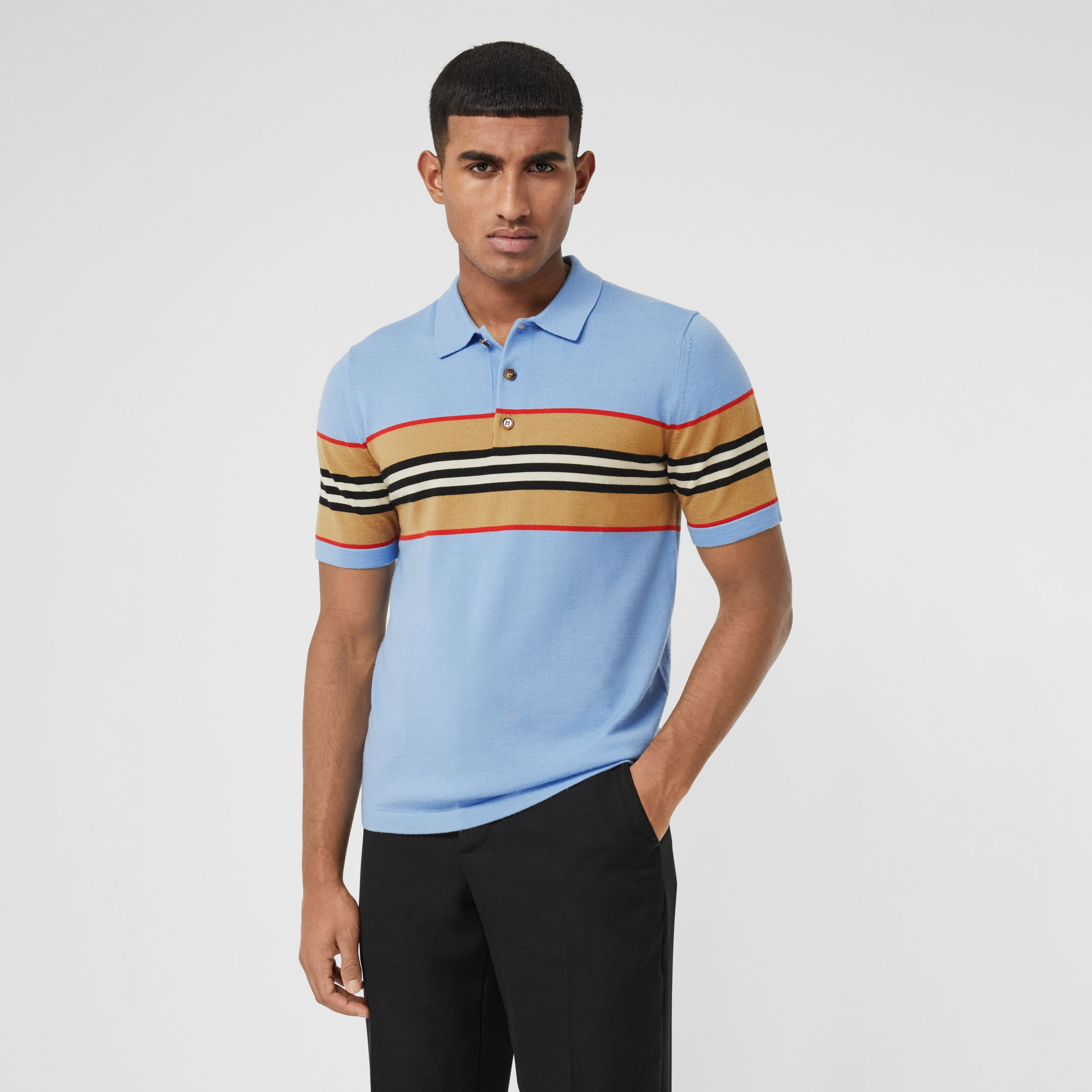 Icon Stripe Detail Merino Wool Polo Shirt in Pale Blue - Men | Burberry - 1