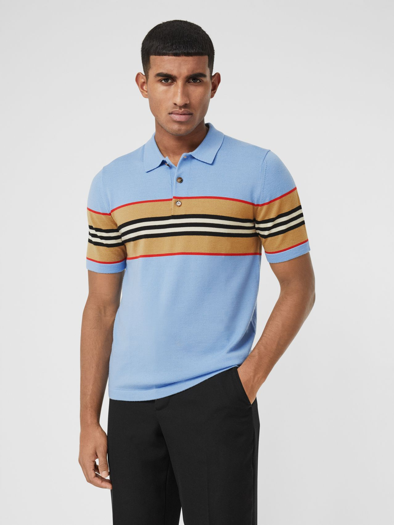 Icon Stripe Detail Merino Wool Polo Shirt in Pale Blue