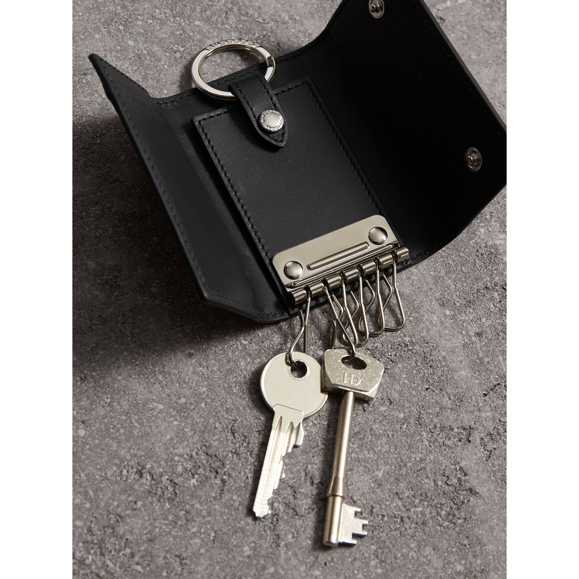 Haymarket Check and Leather Key Holder in Black - Men | Burberry - gallery image 4