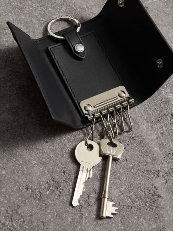 Haymarket Check and Leather Key Holder in Black - Men | Burberry - cell image 3