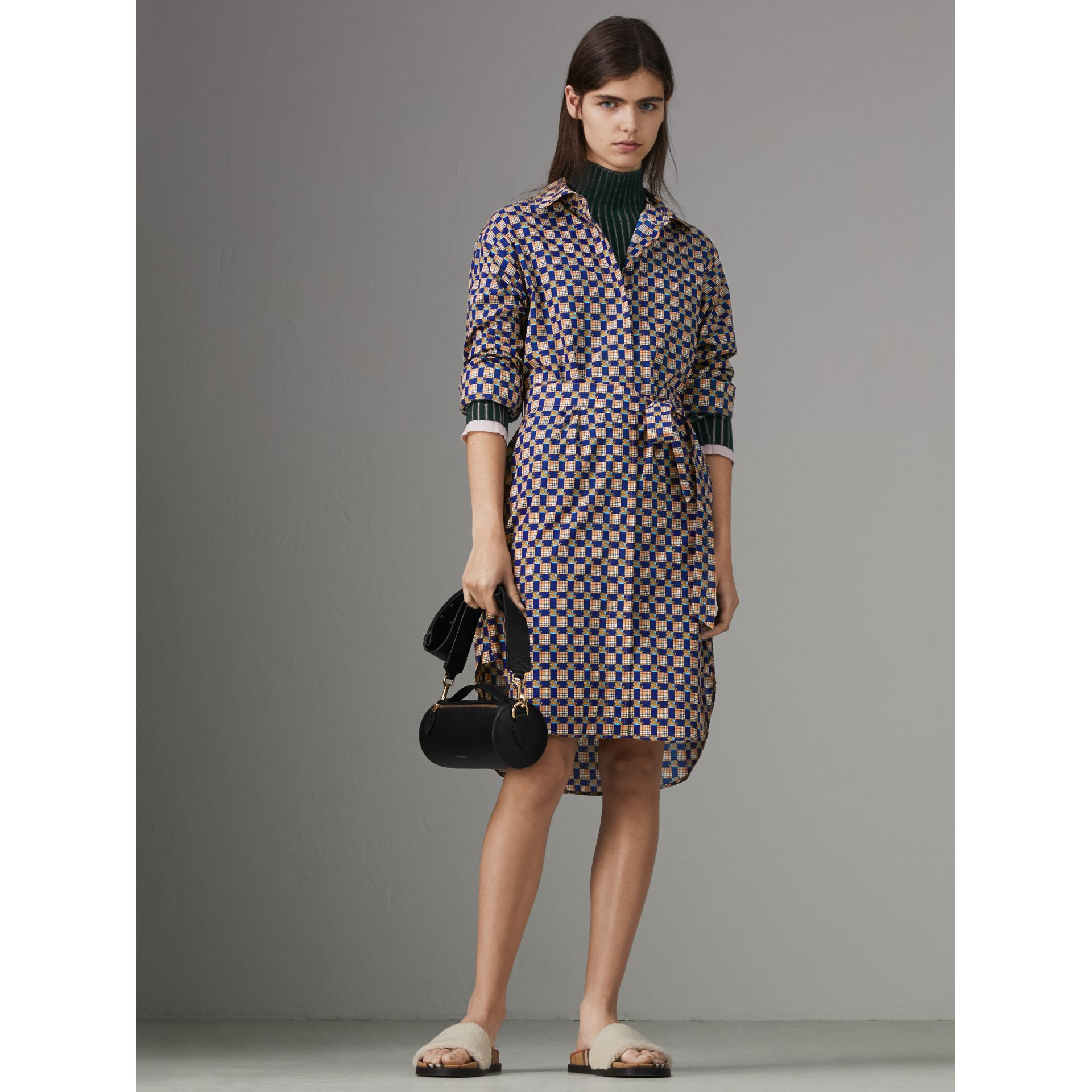 Tiled Archive Print Cotton Shirt Dress in Navy - Women | Burberry United Kingdom - gallery image 4