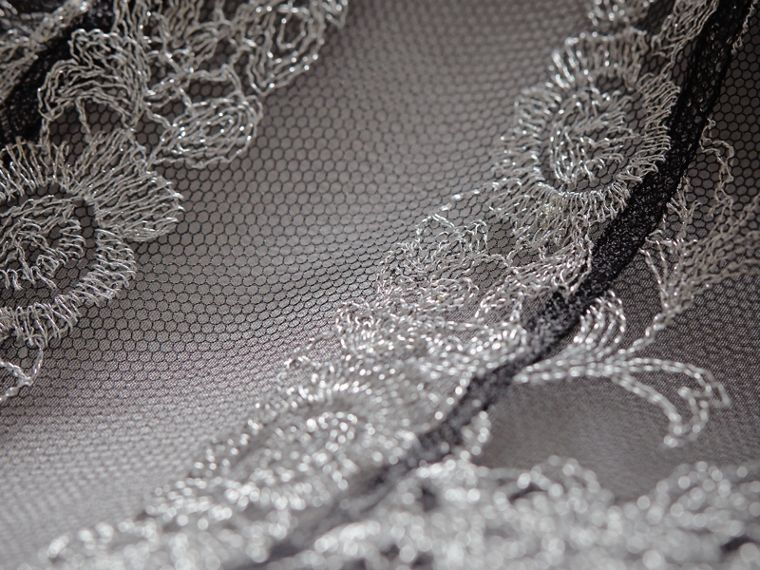 Floral Lace Tulle Dress in Silver - Women | Burberry - cell image 1